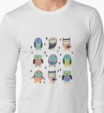 Fun owls in pastel colors Long Sleeve T-Shirt