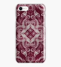 Dark cherry red dirty denim textured boho pattern iPhone Case/Skin