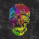 Swirly Skull (Color) by . VectorInk