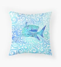 Swirly Shark Throw Pillow