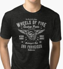 Motorcycle Wheels of Fire Retro Vintage Tri-blend T-Shirt