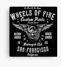Motorcycle Wheels of Fire Retro Vintage Canvas Print