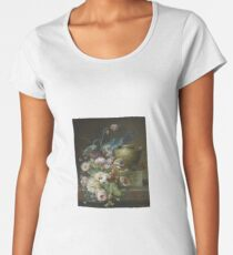 Christiaen van Pol (Dutch, Still life of roses, tulips, and other flowers on a marble ledge with a sculpted marble urn Women's Premium T-Shirt