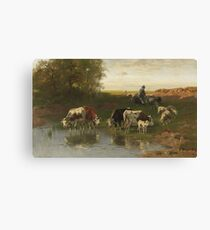 Christian Friedrich Mali - cattle herder at the ford (1890). Canvas Print