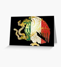 Gold Mexican Coat Of Arms Eagle Greeting Card