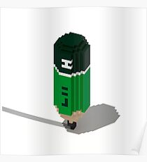 vOxel grEEn Pencil Poster