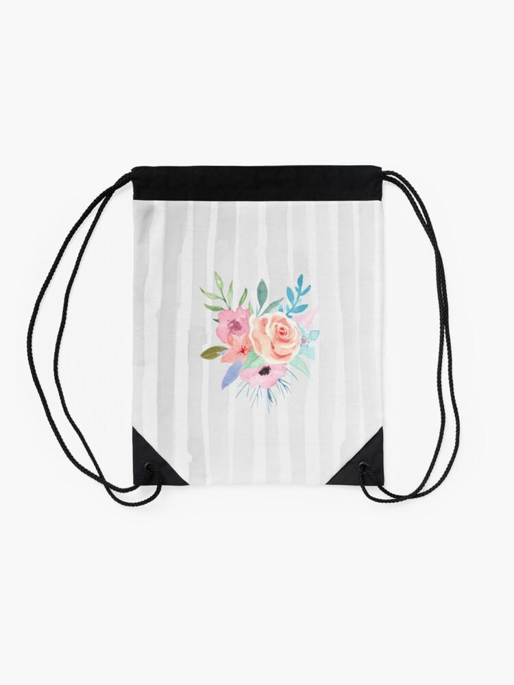 Alternate view of Pastel Posies and Stripes Drawstring Bag