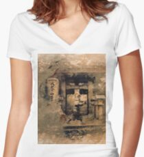 Japanese Samurai in a Traditional Temple Women's Fitted V-Neck T-Shirt