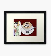 Rose Latte and Lady in Kimono Framed Print