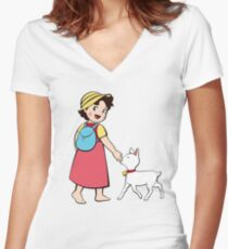 Heidi and litle goat Women's Fitted V-Neck T-Shirt