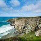 Hole beach cliff -Tintgel Cornwall  by eddiej