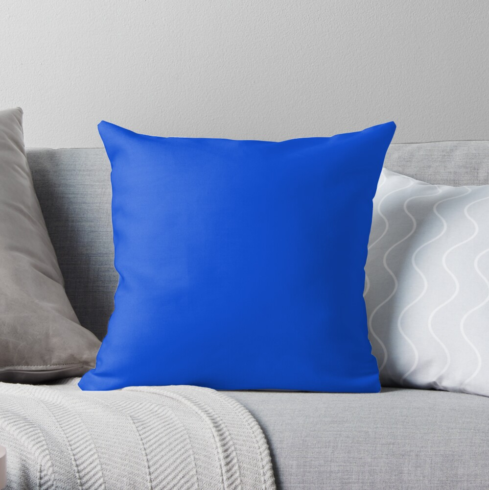 Minimalist solid color neon bright fluorescent blue Throw Pillow