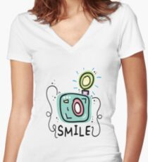 Camera photography Women's Fitted V-Neck T-Shirt