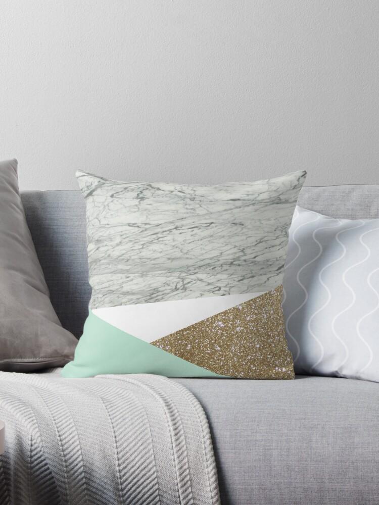 minimalist geometric green mint triangles white marble  by lfang77
