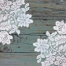 Distressed floral white lace western country teal barn wood by lfang77