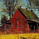 Watercolor Autumn landscape Primitive western country red barn by lfang77
