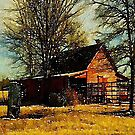 Rural watercolor landscape Autumn western country red barn  by lfang77