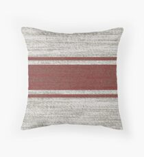 farmhouse chic burgundy jacquard stripes linen french country Throw Pillow