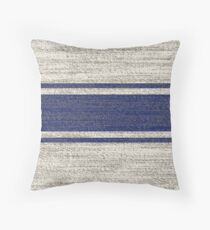 farmhouse chic blue jacquard stripes linen french country Throw Pillow