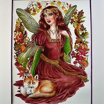Autumn fairy with fox by gabo2828