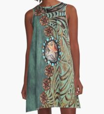Rustic cowboy cowgirl western country green teal leather  A-Line Dress