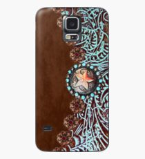Primitive cowboy cowgirl western country brown turquoise leather  Case/Skin for Samsung Galaxy