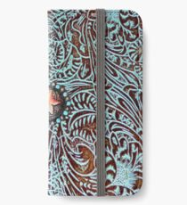 Primitive cowboy cowgirl western country brown turquoise leather  iPhone Wallet/Case/Skin