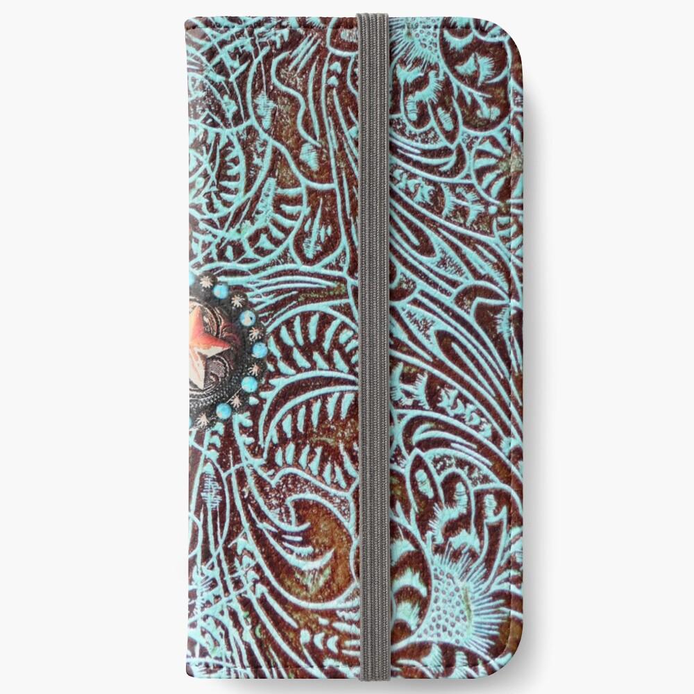 Primitive Cowboy Cowgirl westlichen Land braun Türkis Leder iPhone Flip-Case