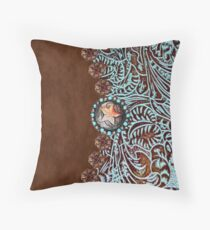 Primitive cowboy cowgirl western country brown turquoise leather  Throw Pillow