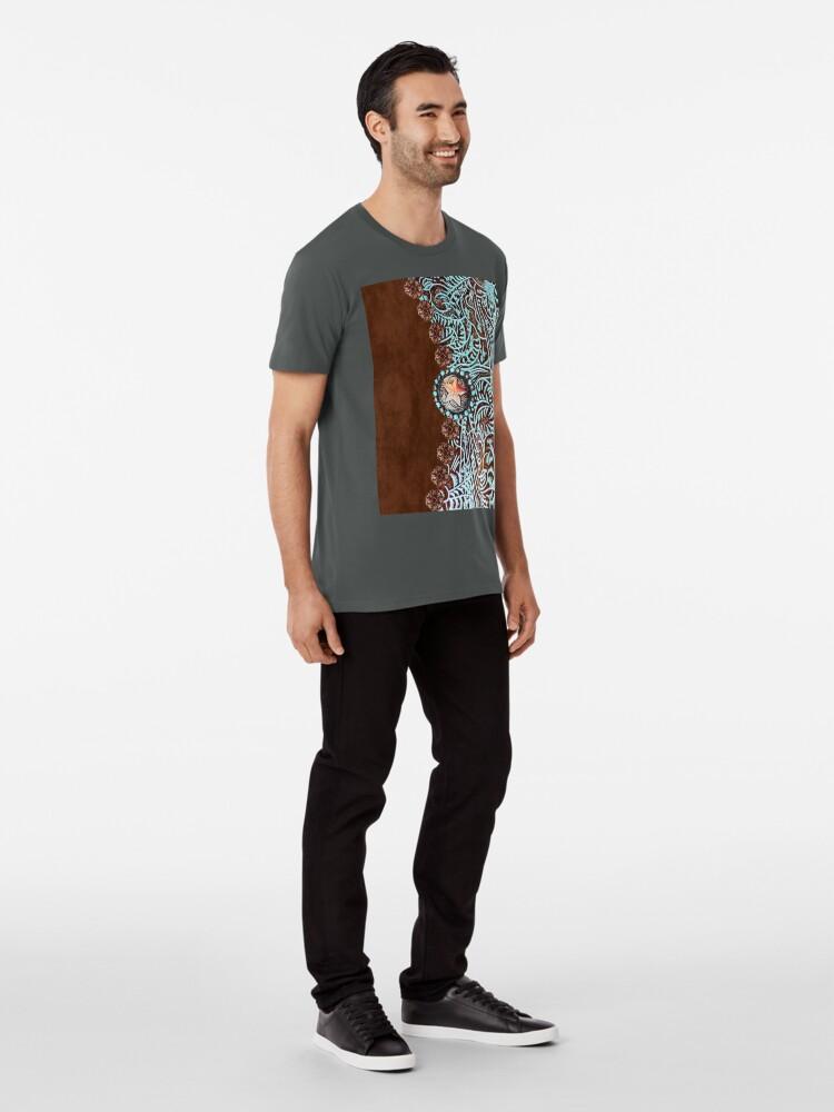Alternative Ansicht von Primitive Cowboy Cowgirl westlichen Land braun Türkis Leder Premium T-Shirt