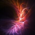 abstract shiny fire colorful rays on dark background by sgame