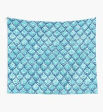 MERMAID SPARKLE Watercolor Fish Scales Wall Tapestry