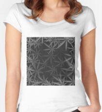Gray Cannabis Leaves Background. Gray Marijuana Pattern Women's Fitted Scoop T-Shirt