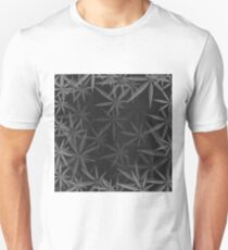 Gray Cannabis Leaves Background. Gray Marijuana Pattern T-Shirt