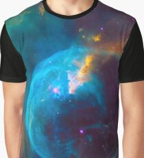 Blue Nebula Space Graphic T-Shirt