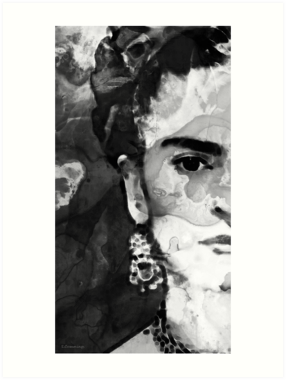 Black and white frida kahlo by sharon cummings by sharon cummings