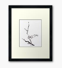 Sakura blossom artistic Japanese Zen Sumi-e painting on white rice paper art print Framed Print