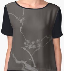 Blossoming Sakura cherry tree branch and flowers artistic Zen painting artwork design on dark gray background art print Chiffon Top