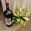 Wine Bottle With Hosta by Fara