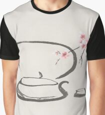 Teapot and sakura blossom Tea ceremony still life Japanese Zen Sumi-e painting art print Graphic T-Shirt