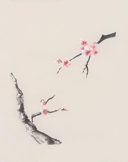 Sakura tree branches with cherry blossom flowers oriental zen sumie sakura tree branches with cherry blossom flowers oriental zen sumie painting on beige rice paper art mightylinksfo