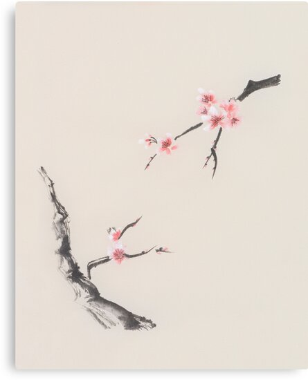 sakura tree branches with cherry blossom flowers oriental zen sumie