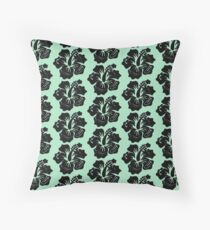 Midnight Marvel Hibiscus Throw Pillow
