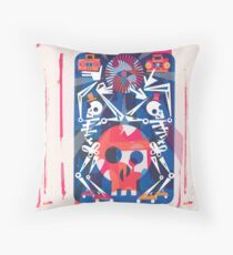 Rollerskating Skeleton Friends Boogie Throw Pillow