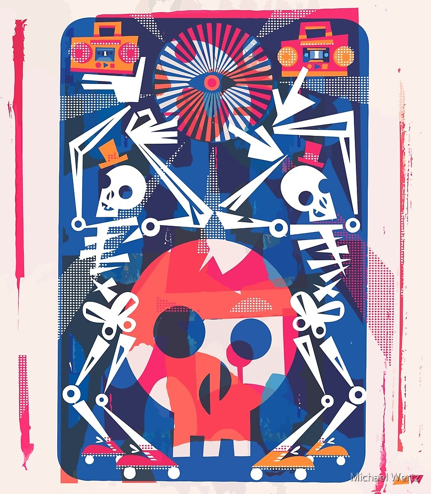 Rollerskating Skeleton Friends Boogie by Michael Wertz