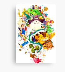 Studio Ghibli Watercolor Collage Canvas Print