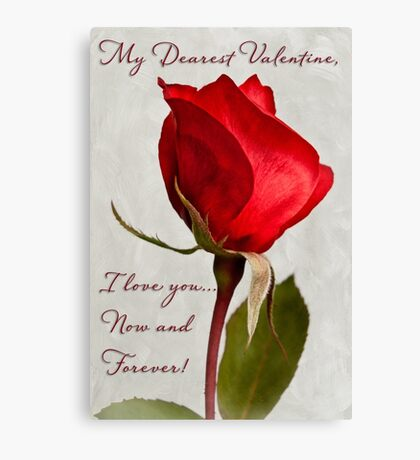 One red rose Valentine card Canvas Print
