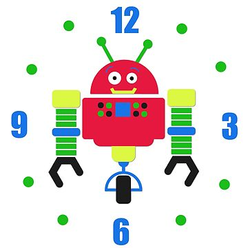 Cartoon Robot Wall Clock by Whimsydesigns