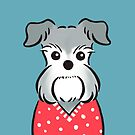 Schnauzer in Red Polka-dot Sweater by zoel