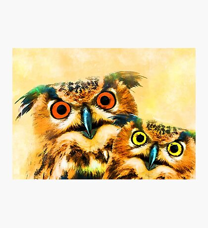 Owls art #owl #animals Photographic Print
